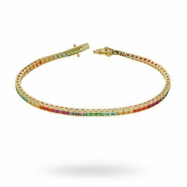 Bracciale Tennis Carrè Rainbow cm 18 con Zirconi Color mm 2 in ARGENTO 925 Galvanica Oro