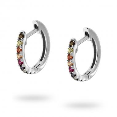 Orecchini Cerchio mm 15 con Zirconi Multicolor Rainbow in ARGENTO 925 Rodiato