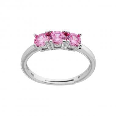 Anello Trilogy a Griffe con Zircone Rosa mm 4 in ARGENTO 925 Rodiato