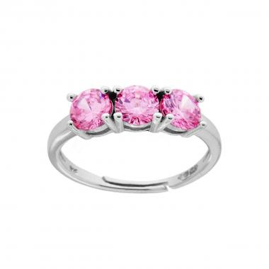 Anello Trilogy a Griffe con Zircone Rosa mm 5 in ARGENTO 925 Rodiato