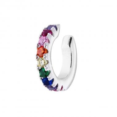 Orecchino Ear Cuff Cerchietto con Zirconi Multicolor Rainbow in ARGENTO 925 Rodiato